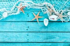 网、壳和海星精美海洋边界  免版税库存图片