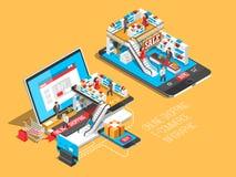 网上与手机,膝上型计算机的购物等量阴影例证,存放命令传染媒介例证 库存例证