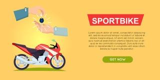 网上买的Sportbike 自行车销售 万维网横幅 免版税图库摄影
