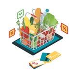 网上买菜 向量例证