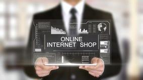 网上互联网商店,全息图未来派接口,被增添的虚拟现实 股票录像