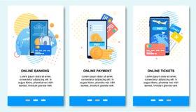 网上付款,银行业务,在机动性的预定的票 库存例证