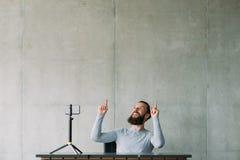 网上企业训练人智能手机顶面事业 免版税库存图片