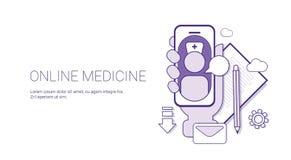 网上医学医疗应用医生Consultation Technology与拷贝空间的Concept Banner变薄线 库存照片
