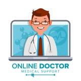 网上医生Man Vector 医疗会诊构思设计 男性神色膝上型计算机 网上医学支持 查出 免版税库存照片