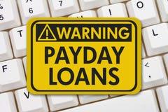 网上发薪日贷款警报信号 免版税库存图片