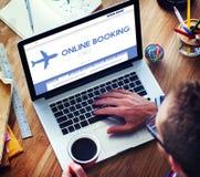 网上售票旅行的平面飞行概念 库存照片