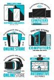 网上商店设备和电子象 库存例证