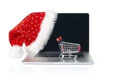 网上圣诞节购物 免版税库存图片