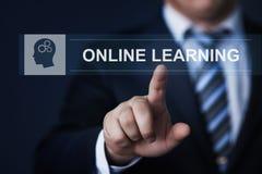 网上学习的电子教学Webinar训练知识企业互联网技术概念 免版税库存照片