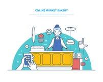 网上市场面包店 命令注册,产品范围选择,付款 库存例证