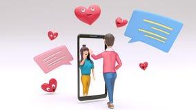 网上录影叫由在两爱恋的字符之间的智能手机与聊天的箱子和动画片心脏形状 库存例证
