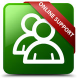 网上支持组象绿色正方形按钮 免版税库存照片