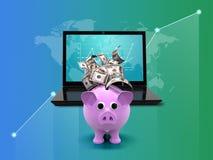 网上收入和美元财政演算 膝上型计算机、金钱和图表,在蓝绿色背景的成长 3d 皇族释放例证