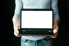 网上收入遥远的工作技术白色屏幕 图库摄影