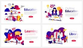网上教程横幅集合 网上图书馆和电子教学系统 向量例证