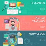 网上教育和电子教学网横幅集合,遥远的互联网教育传染媒介概念网模板 免版税库存照片