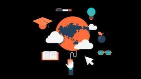 网上教育学校课程程度动画透明传染媒介圈录影 皇族释放例证