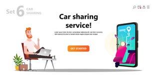 网上汽车共用模式 人和滑行车租 免版税库存图片