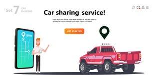网上汽车共用模式 在屏幕智能手机的地图 向量例证