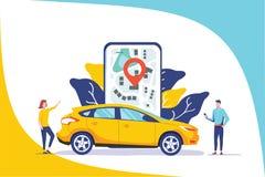 网上汽车分享传染媒介例证概念、流动城市运输有卡通人物的和用途智能手机 库存例证