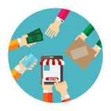 网上流动阿普斯的购物平的概念 库存图片