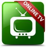 网上电视绿色正方形按钮 免版税库存图片