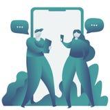 网上约会和社会网络,真正关系 男性和女性聊天在互联网上 皇族释放例证
