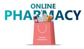 网上药房概念购物带来 库存例证