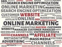 网上营销-与词的图象联合题目网上行销,词,图象,例证 免版税图库摄影
