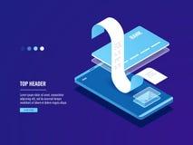网上薪水,与电子邮件,有信用卡的手机的电子票据付款通知 库存图片