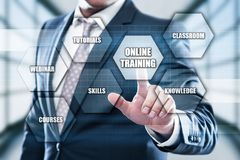 网上训练Webinar电子教学技能企业互联网技术概念 免版税库存照片