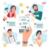 网上讲的概念 聊天与朋友,男朋友 有smartphone的手 五颜六色的平的例证 向量例证