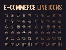 网上购物传染媒介线象-的app和敏感流动的网 免版税库存照片
