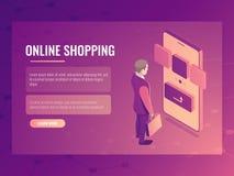 网上购物等量传染媒介概念,人做购买,手机智能手机,电子顺序3d 库存图片