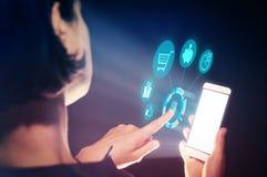 网上贸易,营销,反馈的概念 免版税库存照片
