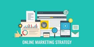 网上销售方针,互联网事务,数字式营销,媒介,广告,网促进概念 平的设计横幅 皇族释放例证