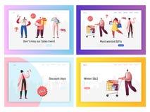 网上销售购物促进着陆页集合 数字电子商务黑色星期五折扣提议 妇女字符横幅 向量例证
