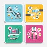 网上付款方法平的设计  免版税图库摄影
