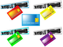 网上付款的卡片 免版税库存照片