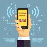 网上付款调动,与智能手机的流动薪水 e银行业务传染媒介概念 皇族释放例证