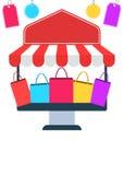 网上购物商店飞行物或海报 库存例证
