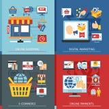 网上购物平的概念集合 免版税库存图片