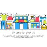 网上购物概念的平的例证 免版税库存图片