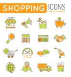网上购物稀薄的线颜色网象集合 免版税库存图片