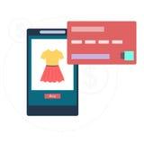 网上购物通过智能手机 库存例证