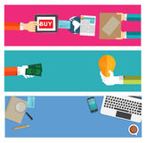 网上购物,事务,现代的工作地点 免版税库存图片