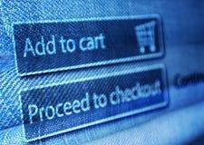 网上购物-增加到在LCD屏幕上的篮子按钮 免版税库存照片