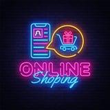 网上Shoping霓虹横幅传染媒介设计模板 流动paymentsneon商标,轻的横幅设计元素五颜六色现代 库存例证