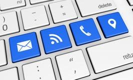 网与我们和连接象联系 免版税库存图片